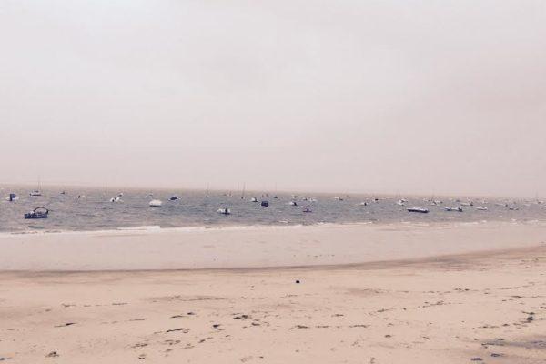 Pyla sur mer. Tempête. plage déserte.