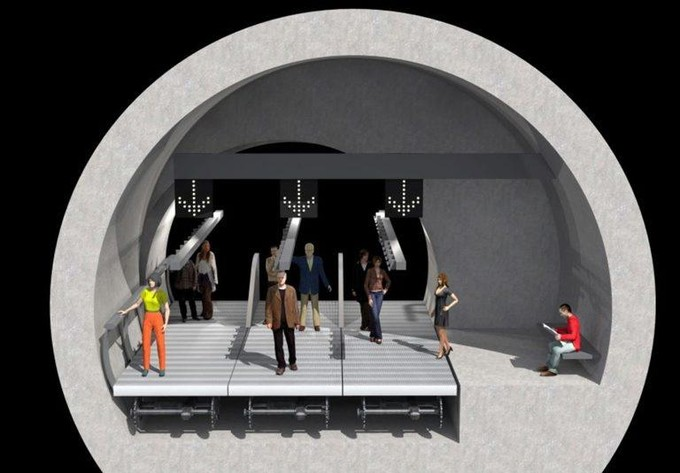 Londres métro tapis roulant.