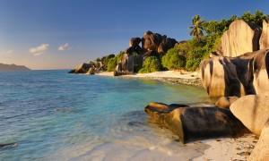 Plage d'argent. La Digue. Seychelles.