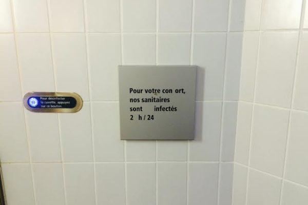 Sanitaire infectés. WC. Vinci. Pau.La femme qui marche.