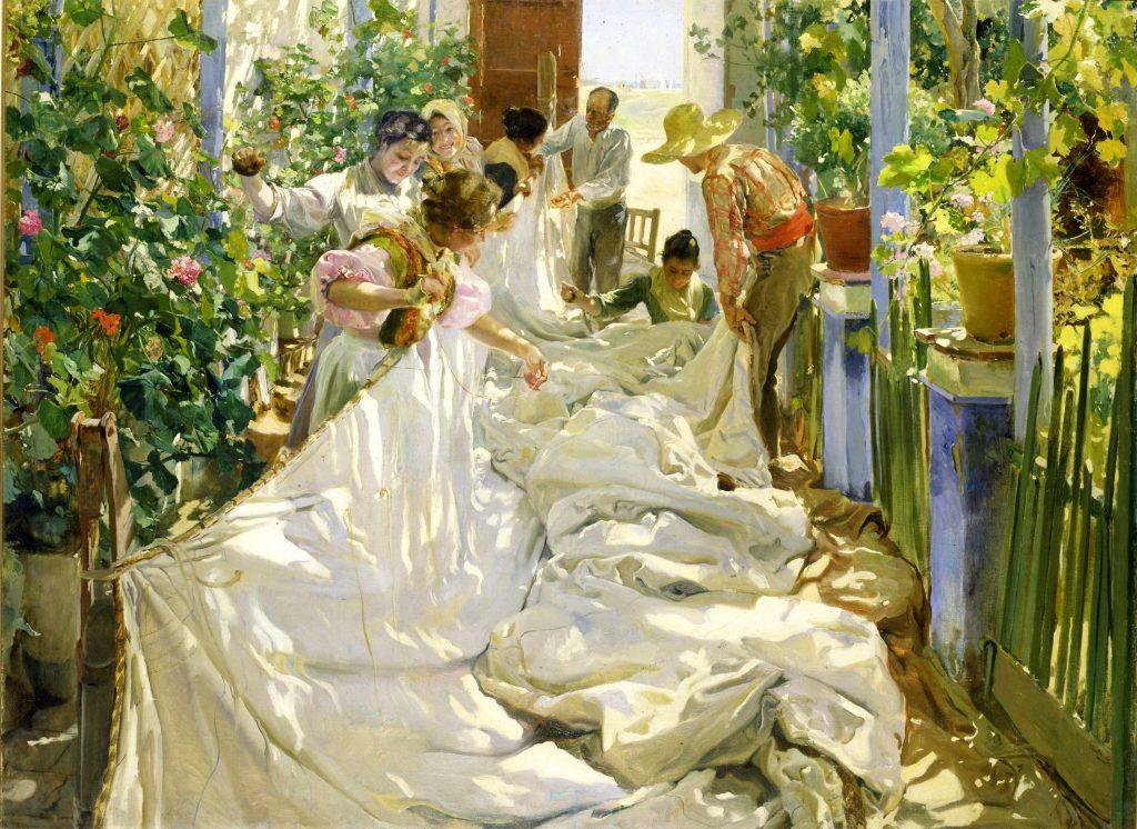 Cousant la voile. Venise. 1896. Galleria Internazionale d'Arte moderna