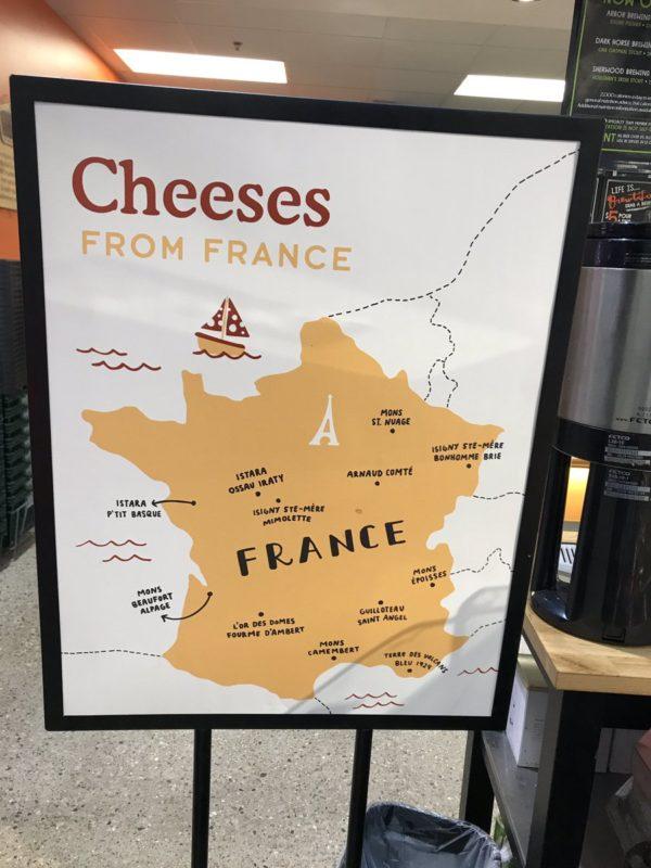 carte de france des formages aux etats unis. Whole food