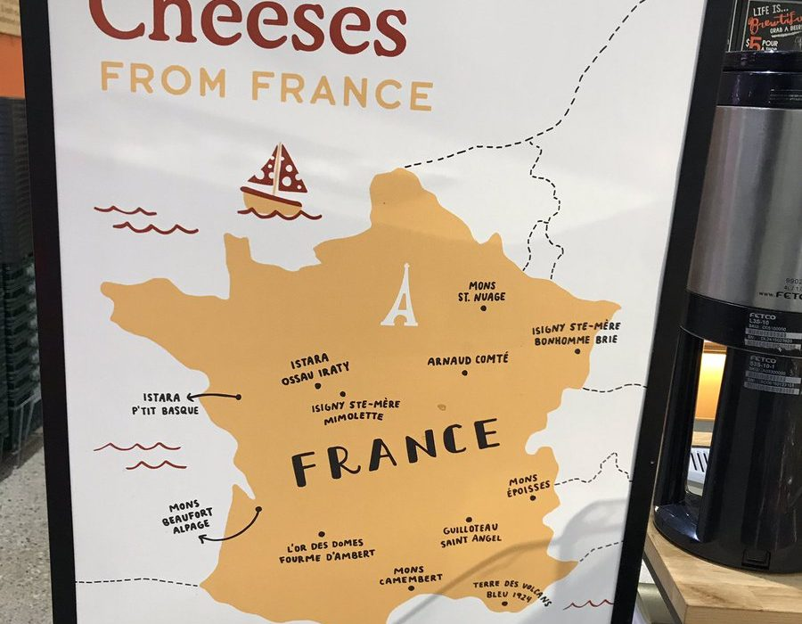 carte de france des formages aux etats unis. Whole food