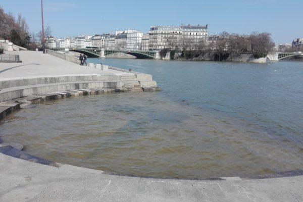 la seine toujours très haute dans Paris ?