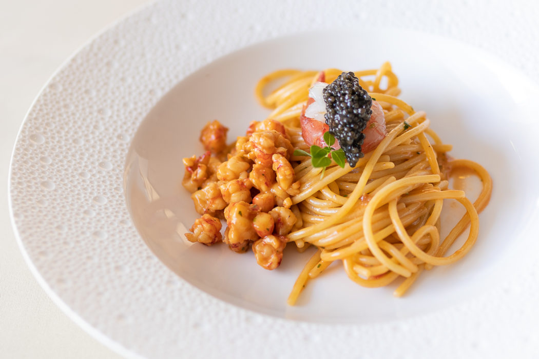 Spaghetti aux gambas rouges de Mazara.