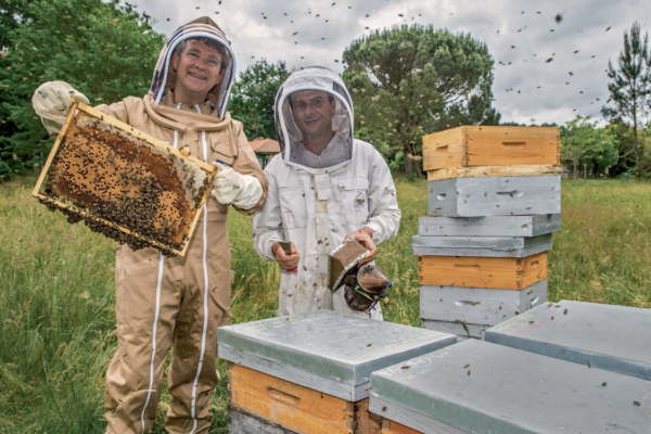 arnaud montebourg. galeries lafayette. miel bleu blanc ruche.