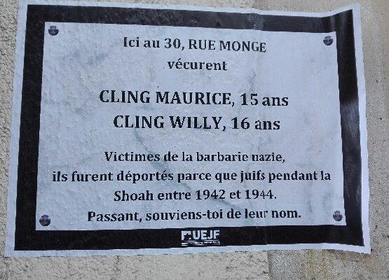 affichettes en mémoire des enfants juifs parisiens déportés.