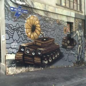 Melbourne. street art tank radio