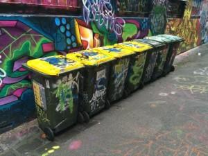 melbourne. Street art. poubelles