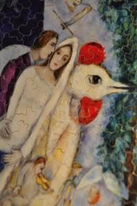 Puzzle Michèle Wilson. Mariès de la Tour Eiffel. Marc Chagall.