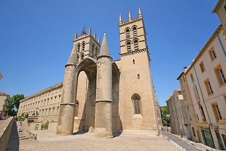 Montpellier. Porche de la cathédrale St Pierre.