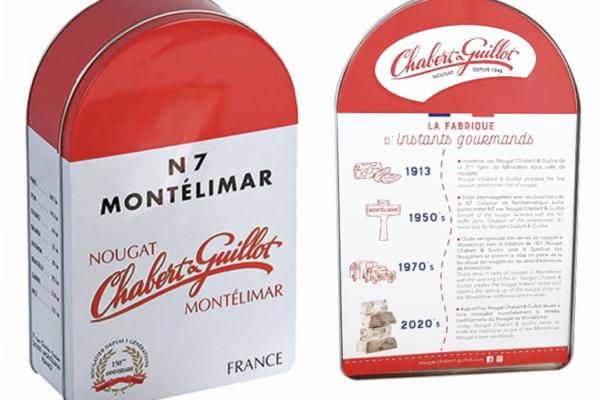 réédition de la boite métal de la borne n7. Nougat de montélimar. chabert & guillot.